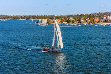 cruising: Sydney, Australia - November 12, 2014: Sailboats cruising near the Point Piper, Sydney, New South Wales, Australia. Point Piper is a small, affluent harbourside eastern suburb of Sydney. Editorial
