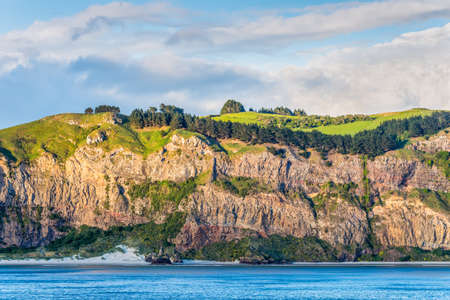 cliff face: Rocky cliff face with bush and meadows on top at New Zealand coast near Dunedin at Otago Region Southern island - cloudy sky