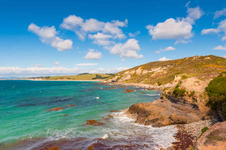 getting away from it all: New Zealand coastline landscape - A happy sunny day at Otago Region Southern island New Zealand Stock Photo