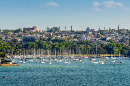 residential housing: View on many sailboats and residential housing in Double Bay from Sydney harbour, Sydney, New South Wales, Australia. Double Bay is a harbourside eastern suburb of Sydney 4 kilometres east of the Sydney central business district.