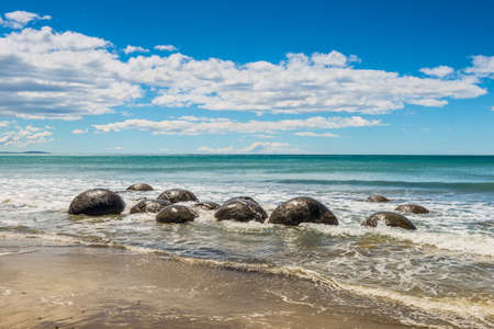 unusually: Unusually large and spherical Moeraki boulders lying along the beach on Otago coast, New Zealand. These formations are a major tourist attraction of the area.