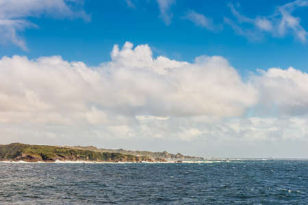 fiordland: New Zealand scenic coastline landscape shot at Fiordland National Park Stock Photo