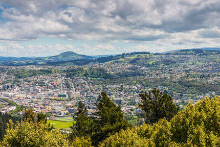 Views towards the city from the lookout at the Centennial Memorial on Signal Hill Dunedin Otago South Island New Zealand
