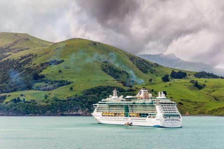 cruiseship: Akaroa, New Zealand - November 17, 2014: The Radiance of the Seas cruiseship at anchor in Akaroa harbour, Canterbury region of the South Island of New Zealand.