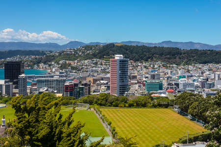 cricket field: View of Mt Victoria over Wellington CBD, capital city of New Zealand. Modern architecture and Cricket Field in the foreground.