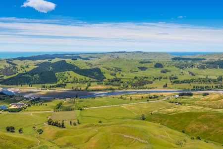 the bay: View from Te Mata Peak to the Tukituki River - Hawkes Bay North Island New Zealand