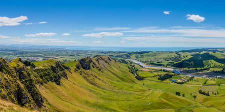 unsettled: Panoramic view from Te Mata Peak Hawkes Bay New Zealand Stock Photo
