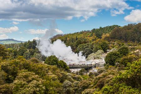 fumarole: Rotorua, New Zealand - November 20, 2014: People watching Pohutu Geyser in Rotorua, New Zealand
