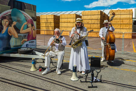 Napier, New Zealand - November 19, 2014: The Twin City Stompers Art Deco Dixieland Jazz Band greets visitors at the port of the seaside town of Napier on the North Island New Zealand.