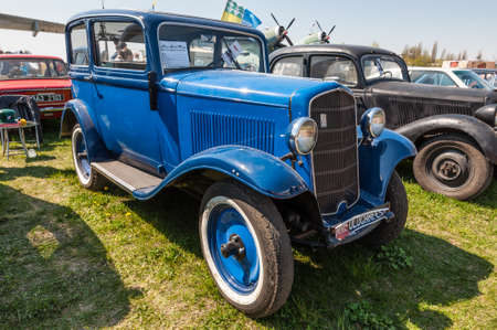 Kyiv, Ukraine - April 26, 2015: The festival Old Car Fest 2015, showed an elegant blue 1934 Opel P4 vintage model at April 26, 2015 in Kiev, Ukraine. Nostalgia Festival with classic cars and motorcycles as main attractions.