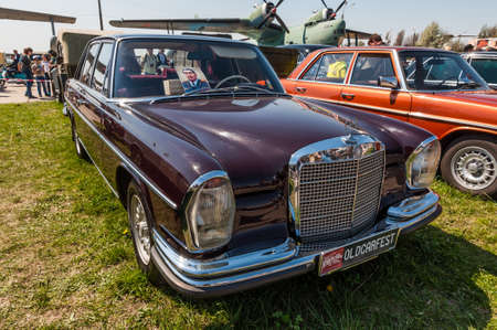 Kyiv, Ukraine - April 26, 2015: 1958 Mercedes-Benz 280 S owned by former Soviet leader Leonid Brezhnev is on display at the festival Old Car Fest 2015 at April 26, 2015 in Kiev, Ukraine. Front side view. Editorial