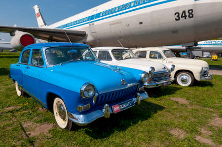 Kyiv, Ukraine - April 26, 2015: The festival Old Car Fest 2015, showed an old soviet Volga and Pobeda vintage model at April 26, 2015 in Kiev, Ukraine. The second festival Old Car Fest 2015 was held on the territory of the Kyiv State Aviation Museum.