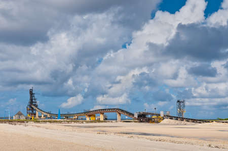 conveyors: The loading dock of the salt planes of the Island of Bonaire, Dutch Caribbean.