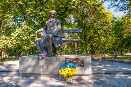 public figure: Chernihiv, Ukraine - August 28, 2016: Monument to Taras Shevchenko, in the park. Taras Shevchenko was a Ukrainian poet, writer, artist, public and political figure, as well as folklorist and ethnographer.
