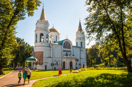 Chernihiv, Ukraine - August 28, 2016: People go to the Dormition of the Mother of God in The Saviours Transfiguration Cathedral in Chernigiv, Ukraine. Editorial