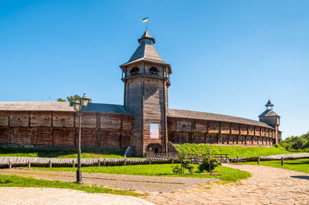 Fortress citadel in Baturyn Ukraine on a sunny summer day. The Baturyn city was the residence of Hetman of Left-Bank Ukraine in 1669-1708 and 1750-1764, respectively.
