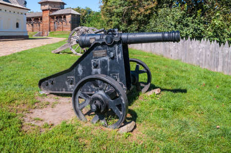 Old Cossack cannons are still on duty in the ancient wooden citadel in Baturin, Ukraine.