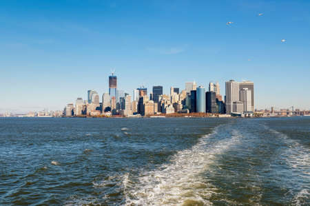 A picture of the Manhattan skyline taken from the ferry Stock Photo
