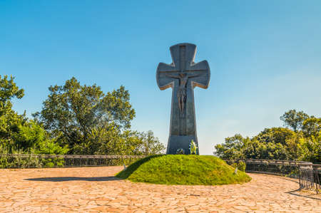 Baturin, Ukraine - August 29, 2016: Cross in memory of Baturin burning, Ukraine. Indeed, in 1708 on the orders of Peter I the city was destroyed russian army and all its inhabitants were killed in retaliation to hetman Mazepa for the supporting of the Swe