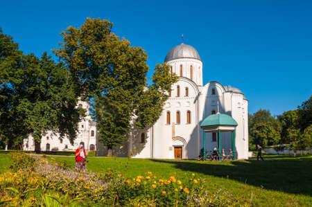 boris: Chernihiv, Ukraine - August 28, 2016: Believers near the Boris and Gleb Church (XII century) in Chernihiv, Ukraine.