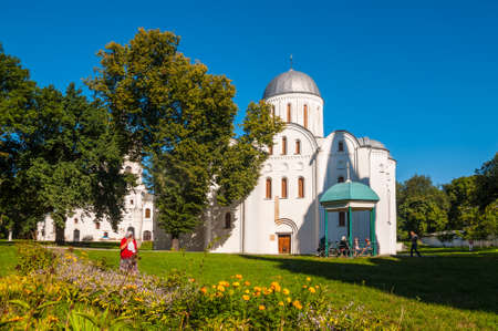Chernihiv, Ukraine - August 28, 2016: Believers near the Boris and Gleb Church (XII century) in Chernihiv, Ukraine.