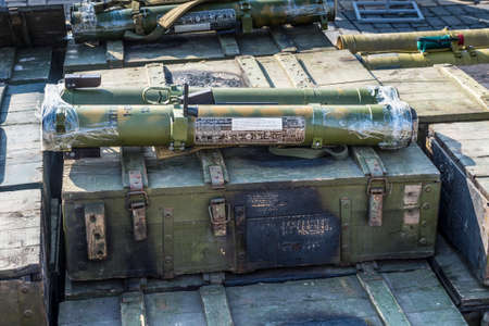 Kiev, Ukraine - February 25, 2015: Man-portable rocket launchers RPO-A Shmel (flamethrowers) at the documentary exhibition Presence. Evidence of the Russian Military Aggression on the territory of Ukraine. Exhibition items also expose the groundless n Editorial