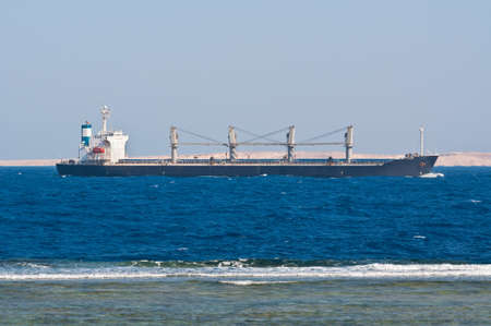 Bulk Carrier Ship in the Red Sea Stock Photo