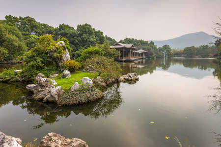 shady: Shady bower and small island on the West Lake in Hangzhou, China Stock Photo