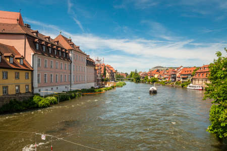 Bamberg, Germany - May 22, 2016: Regnitz river or Little Venice in Bamberg, Franconia, Germany. Former fishing village of the 17th century. Bamberg is a UNESCO world heritage site. Editorial