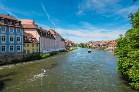 Fishermens houses from the 19th century in Little Venice on the Regnitz river bank in Bamberg, Franconia, Germany. Bamberg is a UNESCO world heritage site. Editorial