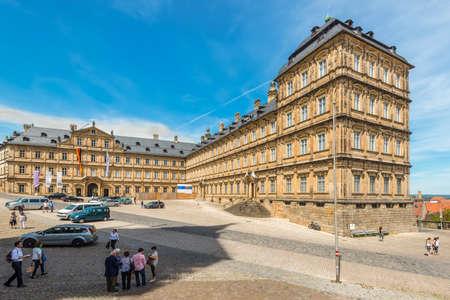 residenz: Bamberg, Germany - May 22, 2016: Tourists at New Residence (Neue Residenz) in Bamberg, Germany on May 6, 2016. The New Residence was the former residence of the bishops of Bamberg.