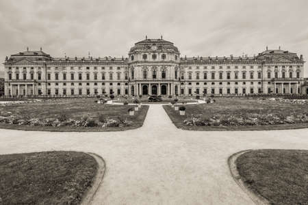 residenz: Wurzburg, Germany - May 22, 2016: The Wurzburg Residence in Wurzburg, Germany. The Wurzburg Residence was inscribed in the UNESCO World Heritage List in 1981. Black and white photography, sepia toned.