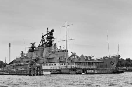 navy pier: Copenhagen, Denmark - August 5, 2010: Frigate Peder Skram - this warship was launched May 2,1965, commissioned May 25,1966 and decommissioned July 5,1990 in Copenhagen harbor, Denmark on August 5, 2010 - Black and White image.