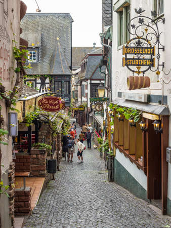 rudesheim: Rudesheim, Germany - May 23, 2016: Architecture of Rudesheim, Germany. Rudesheim is a winemaking town in the Rhine Gorge and thereby part of the UNESCO World Heritage Site. Editorial