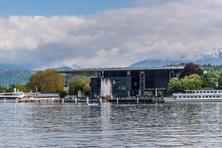 esteemed: Lucerne, Switzerland - May 24, 2016: Architecture of Lucerne. The Culture and Congress Centre (KKL Luzern) in Luzern, Switzerland. It is a multi-functional building with a concert hall that is esteemed for its high-profile acoustics. Editorial