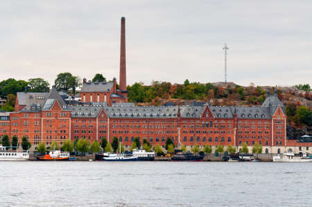 brewery: The historic converted warehouses, former brewery and boats along the Sodermalm waterfront, Stockholm, Sweden