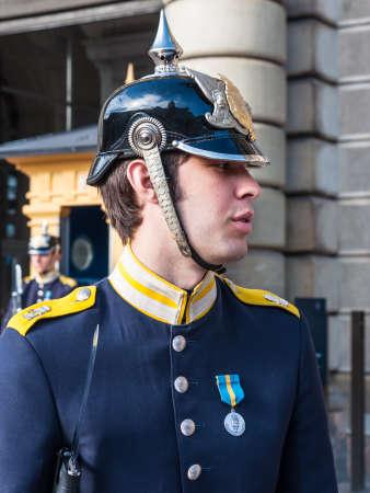 royal guard: STOCKHOLM, SWEDEN -  JULY 28, 2010: Royal Guard at the Royal Palace of Stockholm