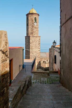 pictoresque: Sant Antonio abate church bell tower in Castelsardo, Sardinia, Italy Stock Photo
