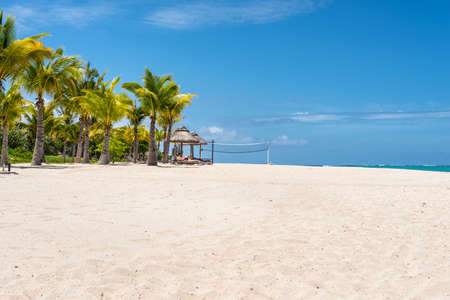 Le Morne, Mauritius - December 7, 2015: Le Morne Beach, one of the finest beaches in Mauritius and the site of many tourism facilities. Editorial