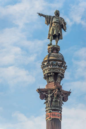 Statue of Christopher Columbus in Barcelona, Spain. It was constructed for the 1888 Barcelona Universal Exposition in honor to Columbus first voyage to the Americas.