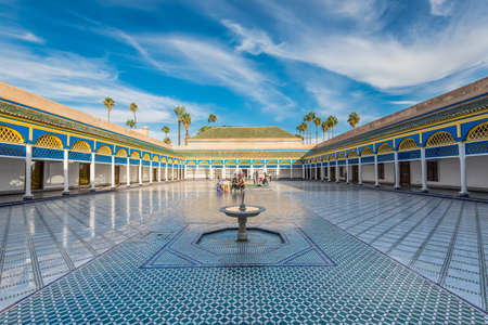 Marrakesh, Morocco - December 8, 2016: Inside the beautiful Bahia palace with the fountain in Marrakesh, Morocco, Africa. Editorial