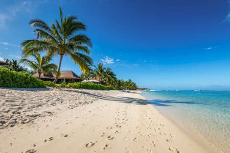 Amazing white beaches of Mauritius island. Tropical vacation in Le Morne Beach, Mauritius.
