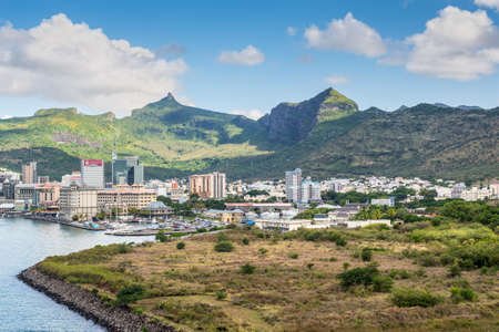 Port Louis, Mauritius - December 12, 2015: Port Louis cityscape, Mauritius. The city is the countrys economic, cultural, political centre and most populous city.