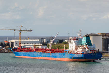 Port Louis, Mauritius - December 12, 2015: Chemical oil products tanker ship Histria Tiger in import export and business logistic at Trade Port Louis, Mauritius. Editorial