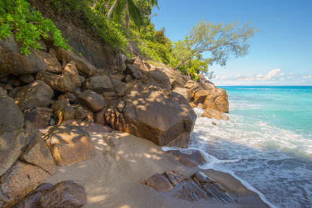 Seychelles seascape granite coast - paradise wild Anse Major beach, Mahe Island, Indian Ocean, East Africa Stock Photo