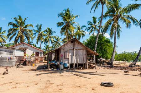 Ambatozavavy, Nosy Be, Madagascar - December 19, 2015: Typical malagasy village - african beach hut, poverty in Nosy Be, Madagascar. Editorial