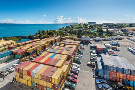 Antsiranana, Madagascar - December 20, 2015: Wide-angle view of containers in the port of Antsiranana (Diego Suarez), north of Madagascar, Africa.
