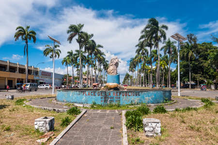 Toamasina, Madagascar - December 22, 2017: Republic Square (Place de la Republique) in Toamasina (Tamatave), Madagascar, East Africa. People in Madagascar suffer of poverty due to slow development of the country.