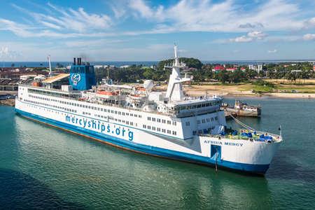 Toamasina, Madagascar - December 22, 2017: Hospital ship Africa Mercy in the port of Toamasina (Tamatave), Madagascar. The Africa Mercy is currently the largest civilian hospital ship in the world.