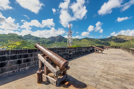 Port Louis, Mauritius - December 25, 2015: Old rusty cannon in the Fort Adelaide in Port Louis, Mauritius. The fortress dates back from the French colonial time.